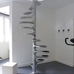 Unique Chrome Spiral Staircase Ideas