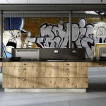 Urban Kitchen Interior with Graffiti Art