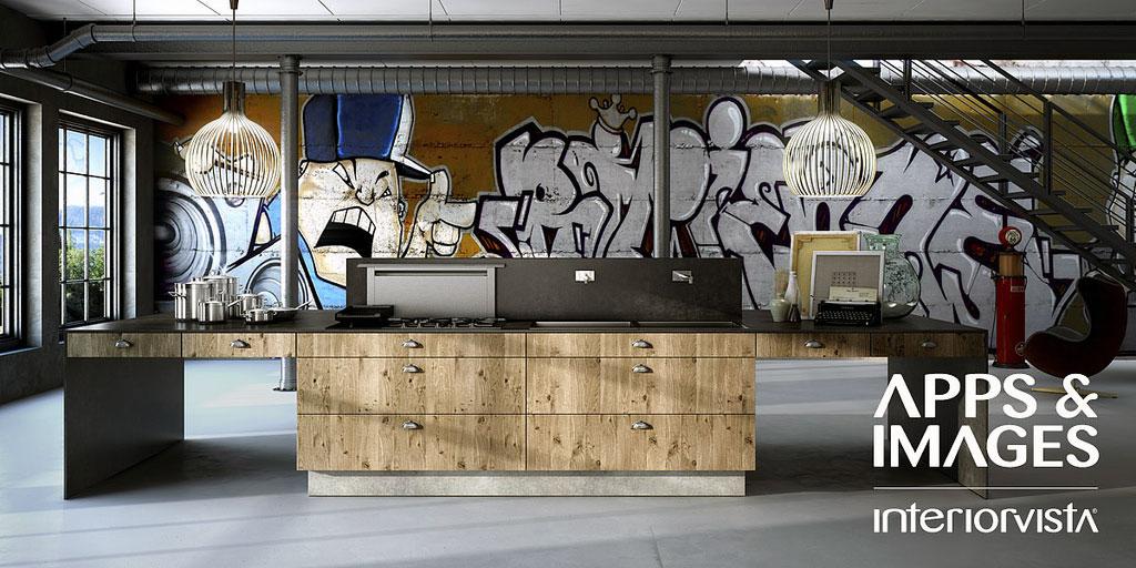 Urban kitchen interior with graffiti art interior design for Urban interior designs
