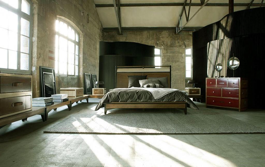Utilitarian Bedroom Furniture with Brick Wall Design