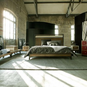 Utilitarian Bedroom Furniture with Brick Wall Design