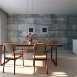 Utilitarian Dining Room with Concrete Block Walls