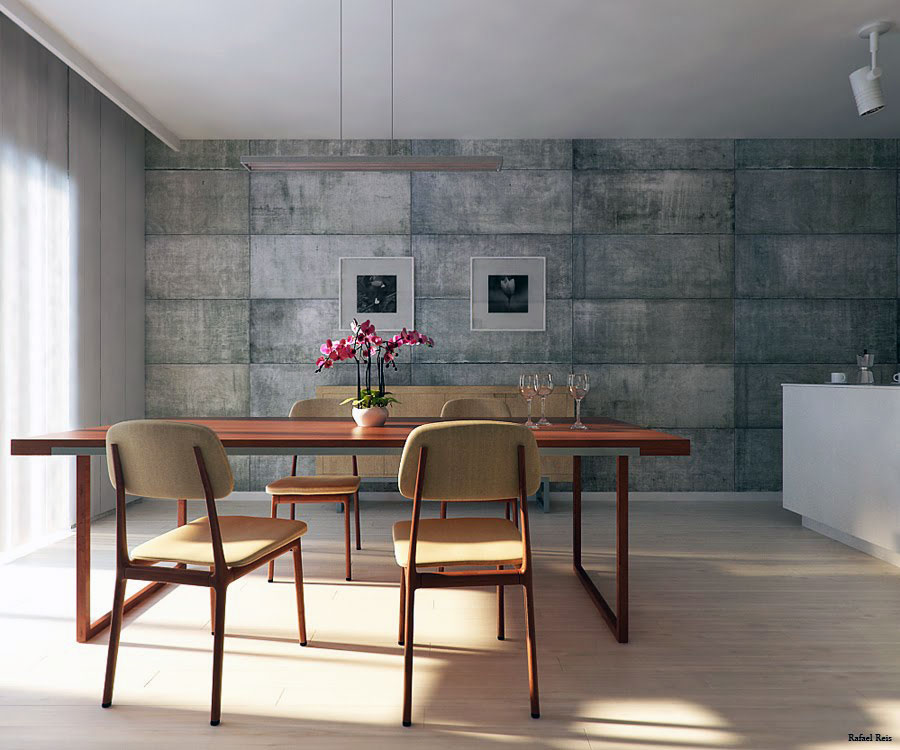 Utilitarian dining room with concrete block walls for Dining room wall furniture