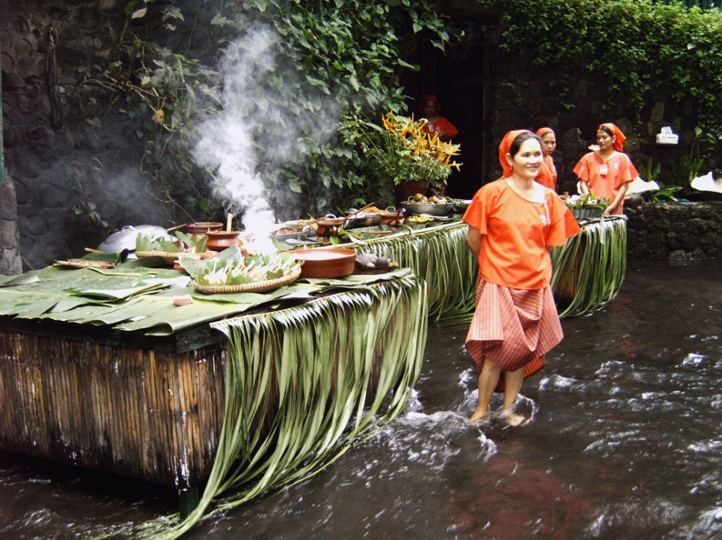 Waiters with Philippines Traditional Clothing Restaurant Philippines