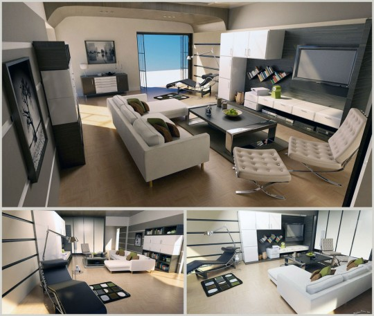 White Grey Wood Living Room Design