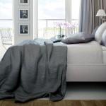 White Bedroom with Grey Blanket Design