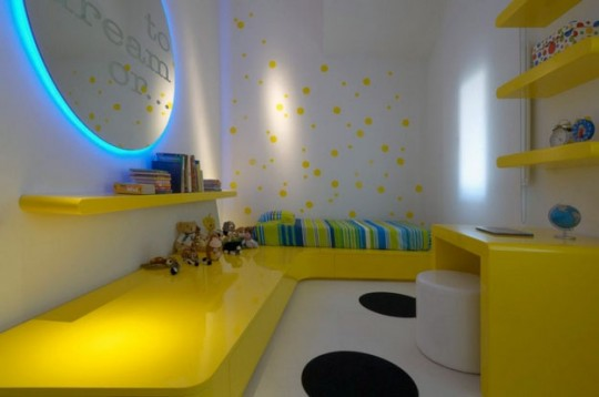 White Bedroom with Yellow Furniture and Blue Mirror Backlit