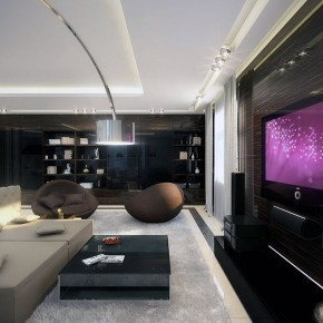 White Dark Wood Living Room with Recessed Ceiling