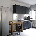 White Kitchen with Black Cabinet Design