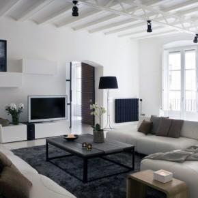 White Modern Living Room Apartment Design