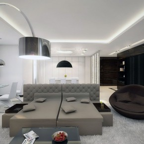 White Taupe Brown Lounge with Luxury Fur Rug