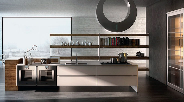 White Wood Kitchen with Large Glass Wall