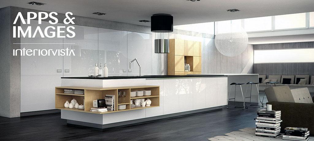 White Yellow Kitchen Furniture with Black Chandelier