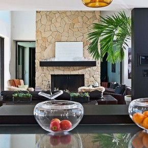 White Rock Wall Fireplace Mantel Design.
