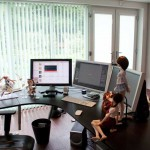 Awesome Workspace with Tree LCD and Sexy Anime Figurines