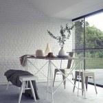 Beautiful Modern Dining Room with White Brick Wall
