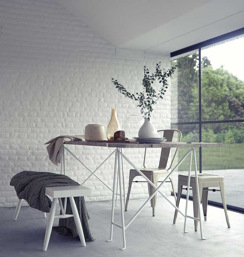 Interior Design White Walls: Beautiful Modern Dining Room With White Brick Wall