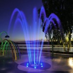 Beautiful Fountain with Programmable Multicolored LED Performance