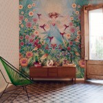 Beautiful Illustrative Wallpaper Mural Bird Garden Girl