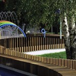 Beautiful Playground with Several Colorful Water Displays and Sprayers