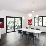 Beautiful Red White Open Plan Living Area with Wooden Floor