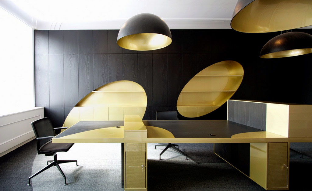 Black Gold Office Furniture Design Ideas