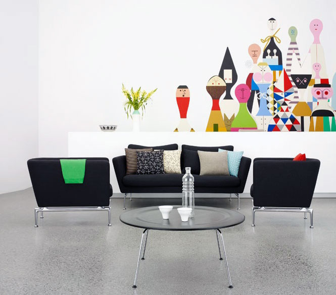 Black Modern Sofa Design in Colorful Living Room