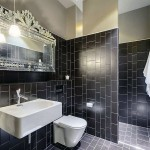 Black Tile Wetroom Design with White Washbasin