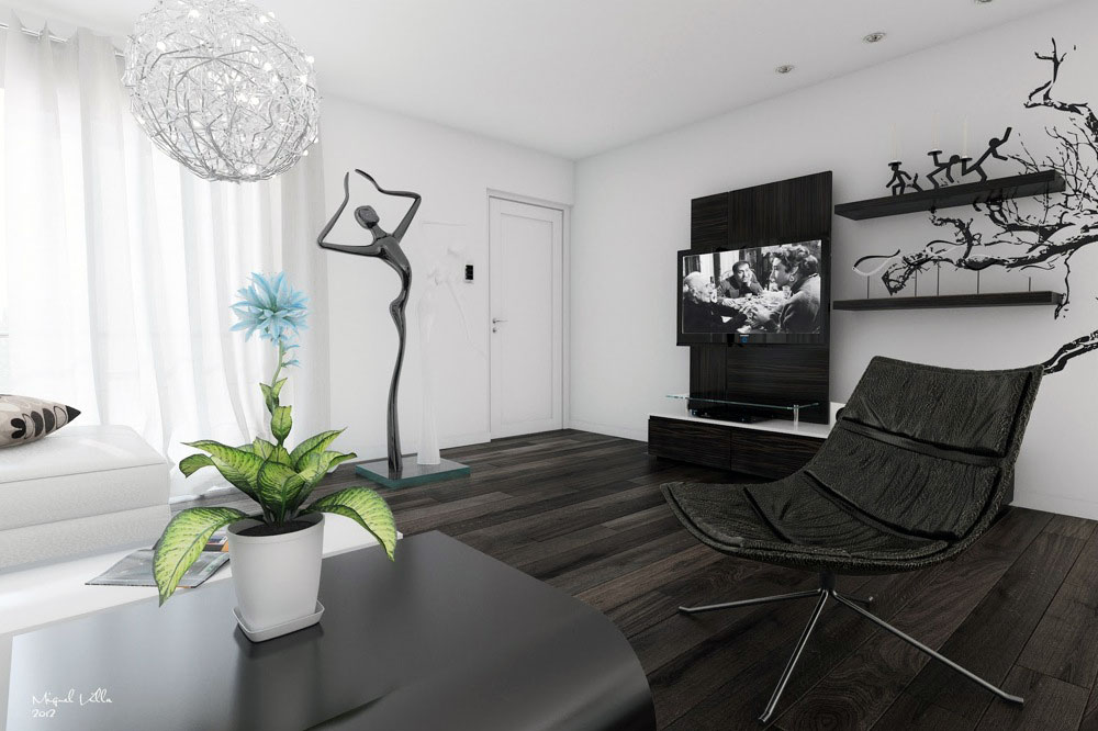 Black White Living Room Modern Art Interior Design Ideas