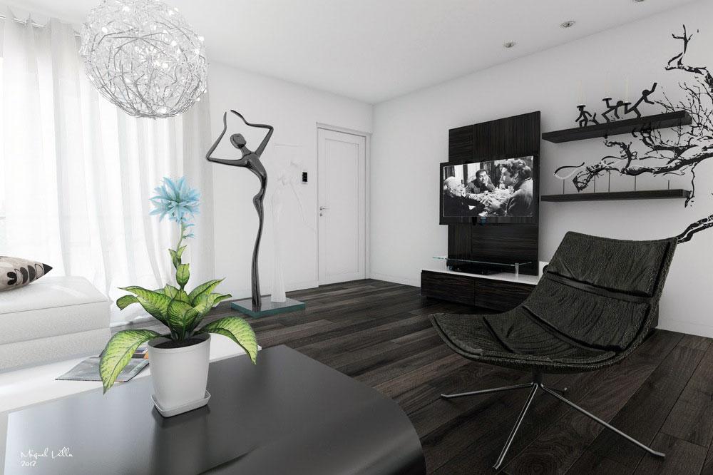 Black White Living Room Modern Art - Interior Design Ideas