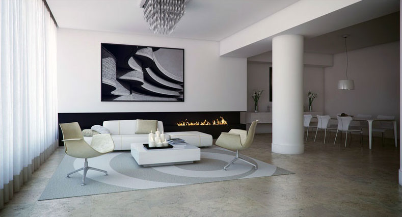 Black White Lounge With Fireplace Design