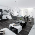 Black White Open Living Dining Room Design