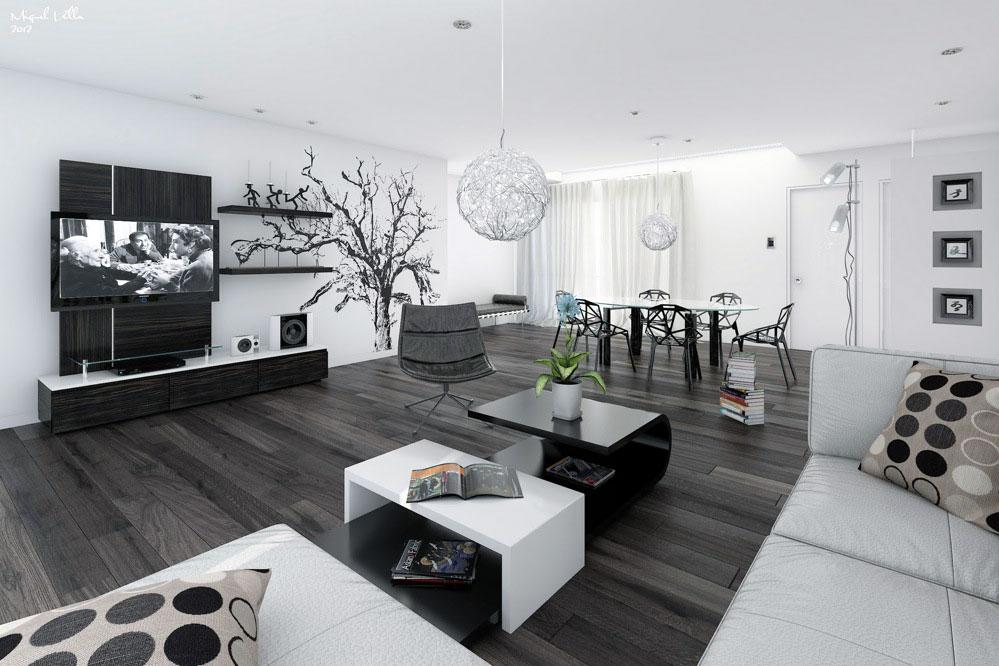 Black White Open Living Dining Room Design