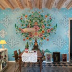 Blue Girl Floral Wallpaper Dining Room