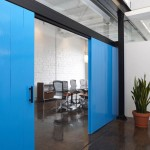 Blue Sliding Door Office Design