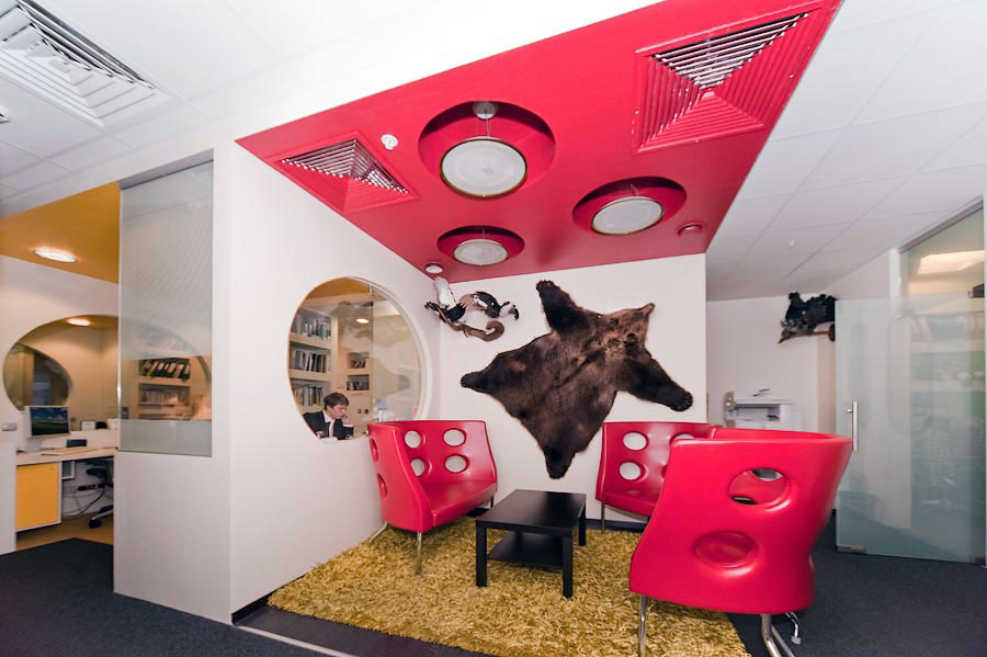 Casual Office Living Design with Bear Skin Wall Art