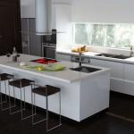 Clean Minimalist Black and White Kitchen Island