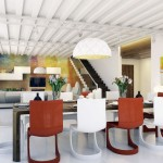 Colorful Red White Chairs Open Dining Area