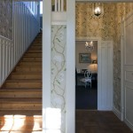 Cool Design Wooden Staircase with Flower Wall Print