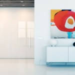 Cool Fitted Gloss White Storage with Modern Art