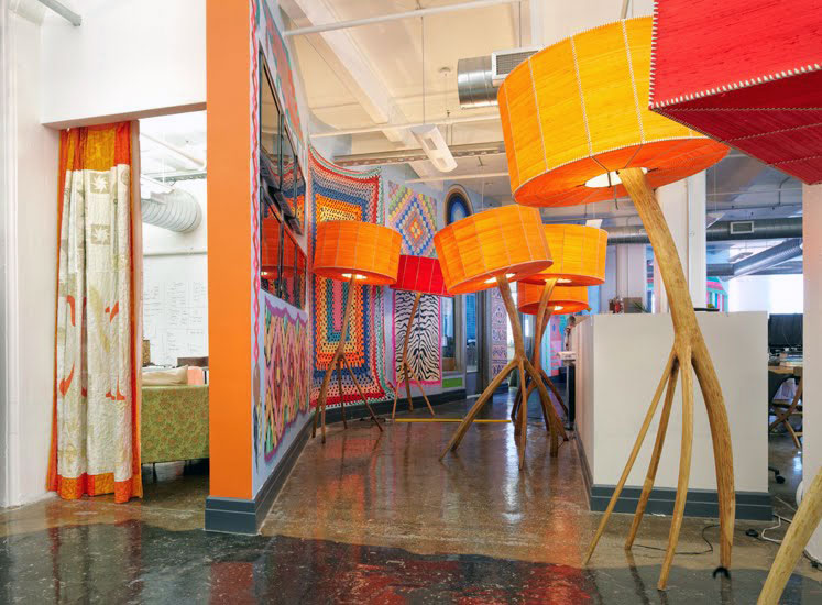 Decorative Interior Office with Orange Accents