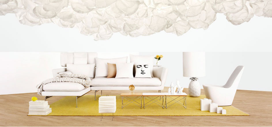 Fresh Living Room Suite White Sofa Chaise with Yellow Rugs
