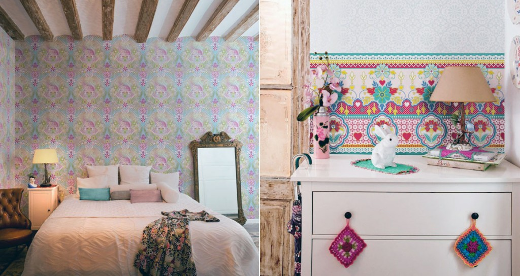 Girly Violet Blue Floral Wallpaper Bedroom