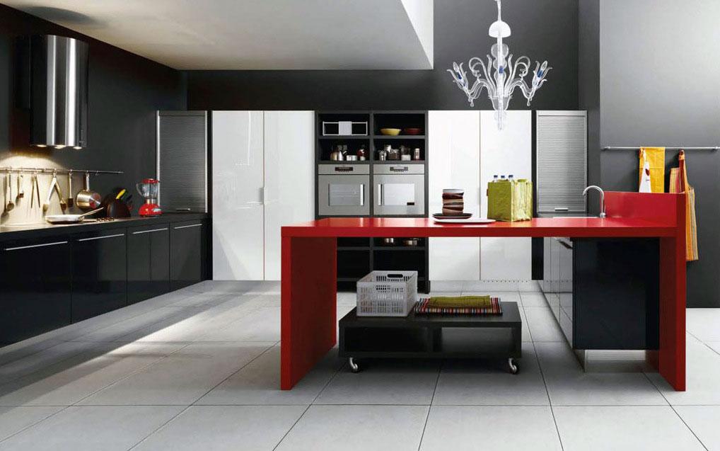 Gothic Black Red Kitchen Design