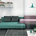 Green Light Purple Sofas in Grey Living Room