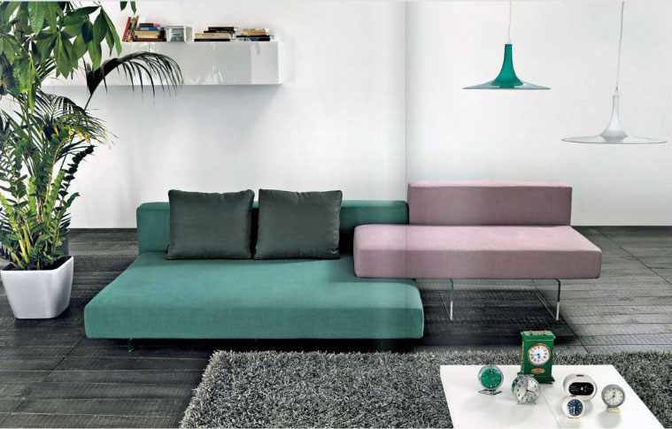 Green Light Purple Sofas in Grey Living Room - Interior Design Ideas