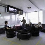 Informal Meeting Room with Unique Tire Sofa