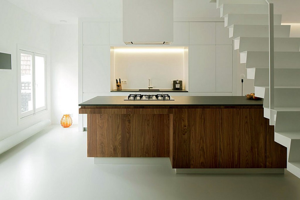 Light Steel Staircase Kitchen