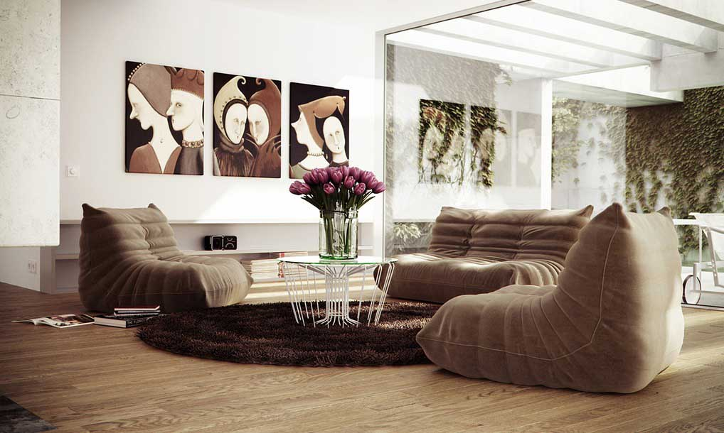 Low Level Brown Couch Living Room