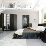 Luxury Black and White Bedroom with Stair to Mezzanine